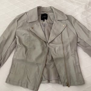 Dynamite Light Grey Leather Jacket